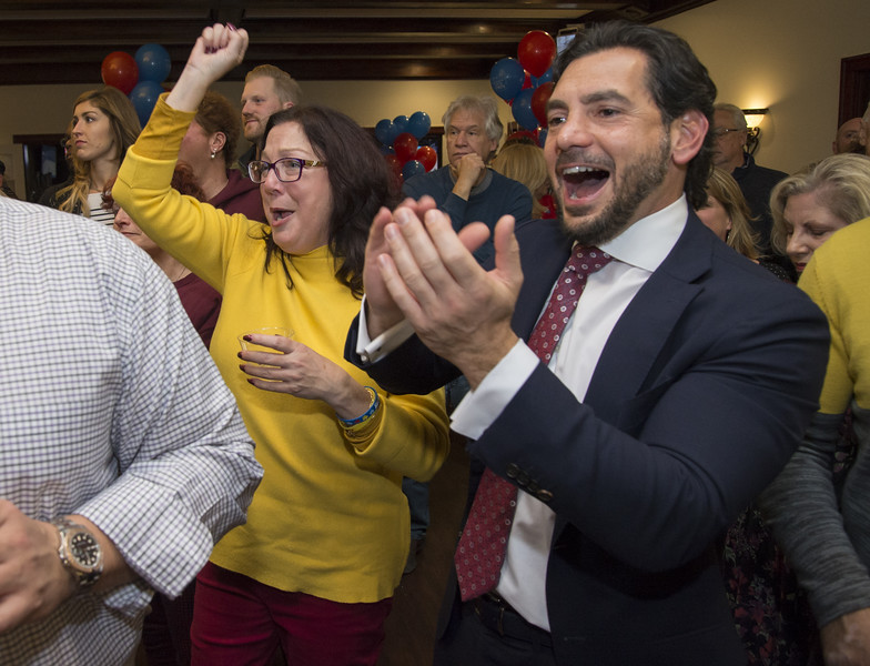 11/05/19  Wesley Bunnell | Staff  Candidates for public office running under the Team Stewart ticket gathered at the Back Nine Tavern at Stanley Golf Course on Tuesday evening to celebrate Stewart's victory and the Republicans taking back a majority of seats on the city council.  Sharon Beloin-Saaavedra, L, and State Senator Gennarro Bizarro react to the city wide results.
