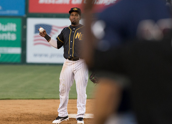 09/03/19 Wesley Bunnell | StaffrrThe New Britain Bees defeated the Somerset Patriots 7-6 in the bottom of the 8th on what was scheduled to be a 7 inning first game of a doubleheader. Rando Moreno (4) looks back the Somerset runner on third.