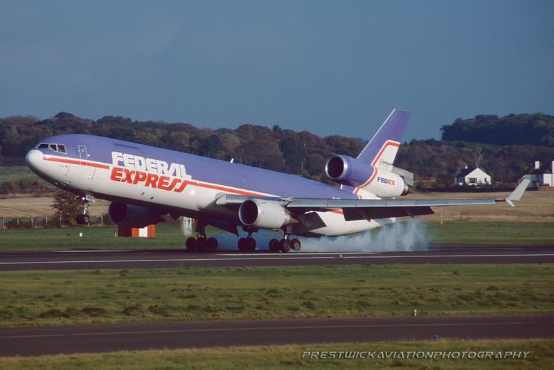 N610FE. McDonnell Douglas MD-11F. Federal Express. Prestwick. February. 1998.
