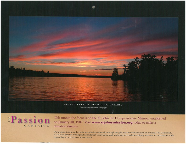 2009 Passion Campaign Calendar July 2009 Sunset, Lake of the Woods, Ontario page.jpg