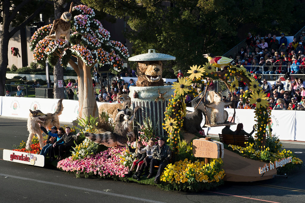 ". City of Glendale ""Let\'s Be Neighbors\"" float during 2014 Rose Parade in Pasadena, Calif. on January 1, 2014. The float won Governor\'s Award for best depiction of life in California. (Staff photo by Leo Jarzomb/ Pasadena Star-News)"