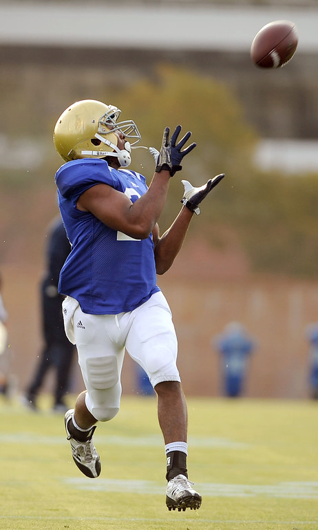 . UCLA Paul Perkins hauls in a pass during practice April 9, 2014 in Westwood, CA.(Andy Holzman/Los Angeles Daily News)