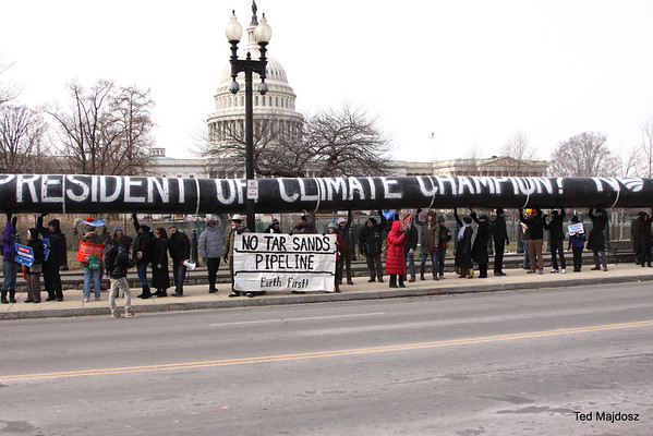 Capital Hill Protest Keystone XL ahead of President Obama's State of the Union.