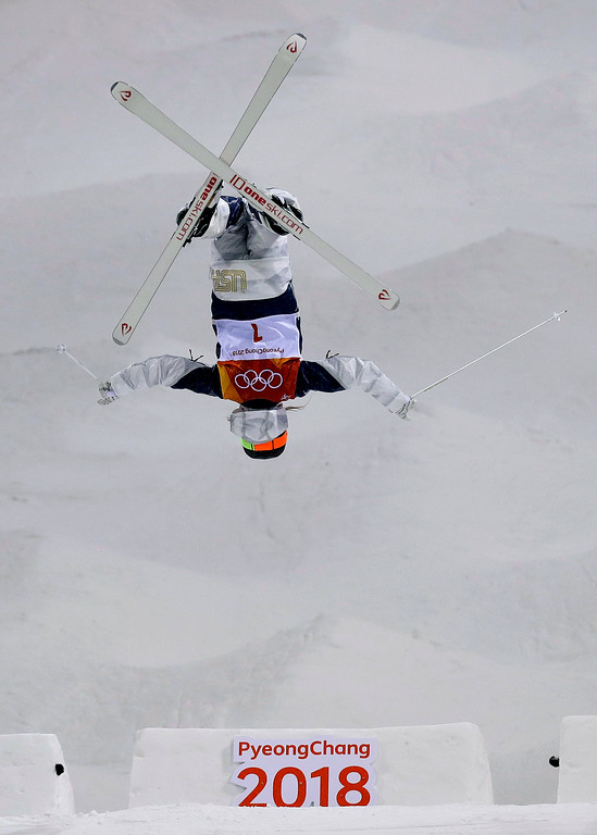 . Jaelin Kauf, of the United States, jumps during the women\'s moguls finals at Phoenix Snow Park at the 2018 Winter Olympics in Pyeongchang, South Korea, Sunday, Feb. 11, 2018. (AP Photo/Kin Cheung)