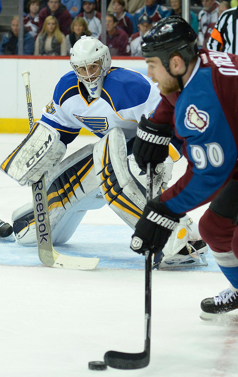 . St. Louis goaltender Ryan Miller (29) kept his eyes trained on Colorado center Ryan O\'Reilly (90) in the first period. The St. Louis Blues defeated the Colorado Avalanche 2-1 at the Pepsi Center Saturday afternoon, March 8, 2014 in Denver, Colorado. (Photo by Karl Gehring/The Denver Post)