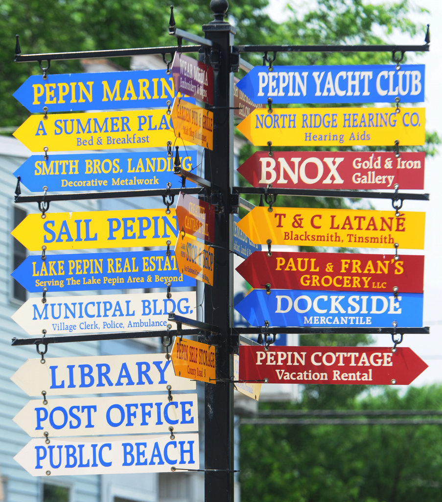 . Signs point the way in Pepin, Wisconsin on Lake Pepin, about an hour and a half  from the Twin Cities. The drive is not only pretty, but there are some fun places to eat, shop, play and spend the night.  (Pioneer Press: Ginger Pinson)