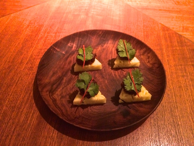 crab wafers with coconut galangal and coriander