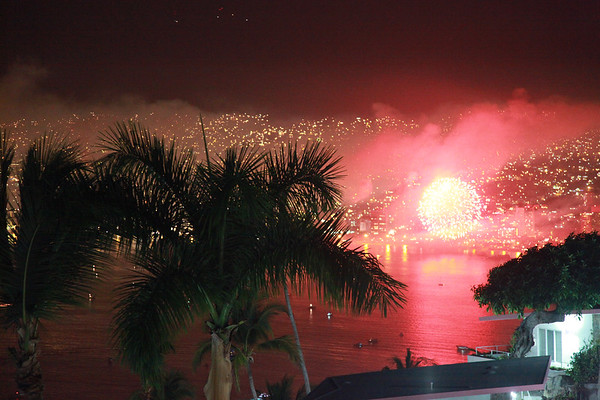 New Year 2012 fireworks celebration - Acapulco, Mexico