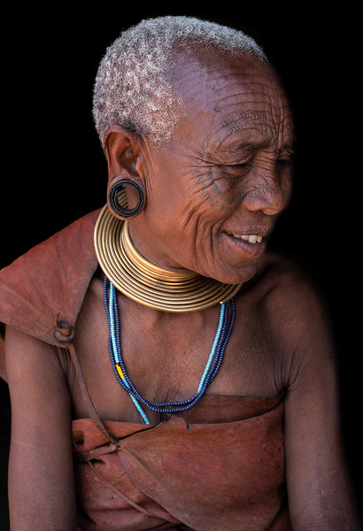 Portrait of an older lady from the Datoga tribe.  Lake Eyasi, Tanzania, 2019