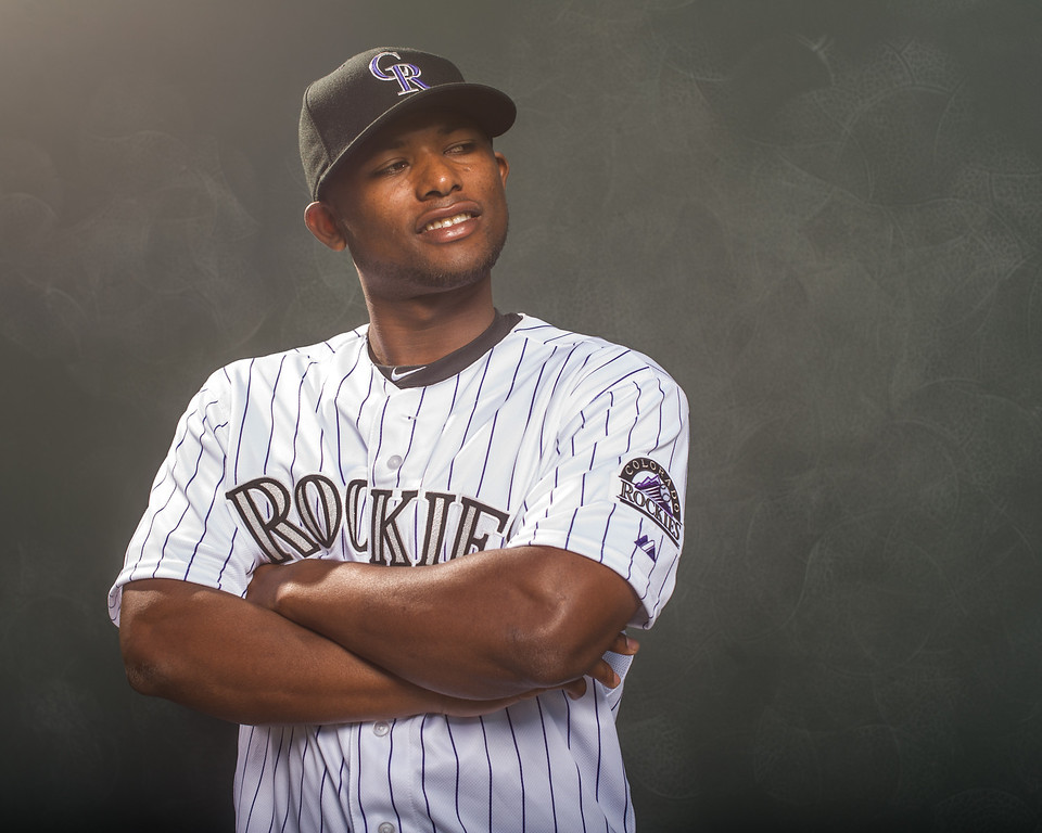 . Angelys Nina #78 of the Colorado Rockies poses for a portrait at the Salt River Fields at Talking Stick on February 26, 2014 in Goodyear, Arizona. (Photo by Rob Tringali/Getty Images)