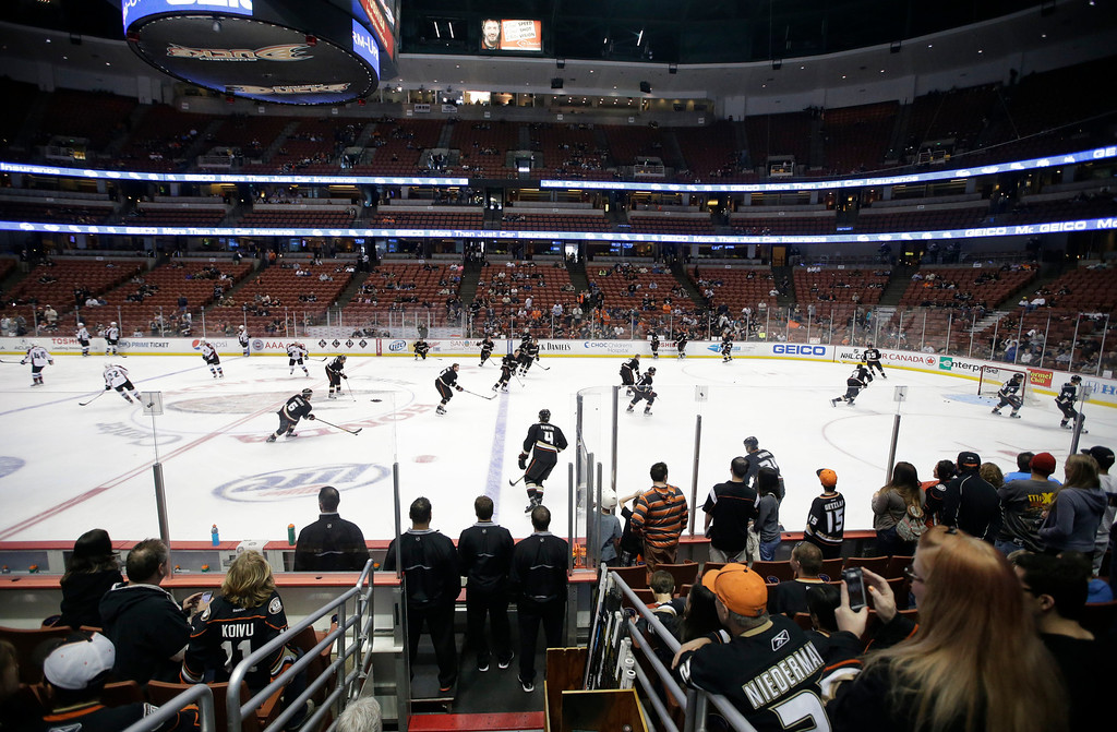 . The fans watch the Anaheim Ducks practice before an NHL hockey game against the Colorado Avalanche in Anaheim, Calif., Wednesday, April 10, 2013. (AP Photo/Jae C. Hong)