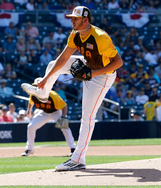 . U.S. Team starting pitcher Joe Musgrove, of the Houston Astros, throws against the World Team during the first inning of the All-Star Futures baseball game, Sunday, July 10, 2016, in San Diego. (AP Photo/Lenny Ignelzi)