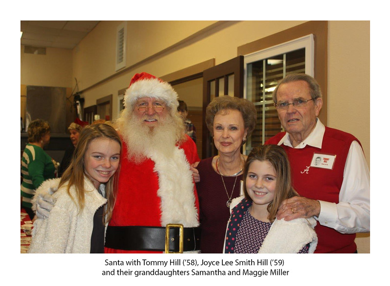 Santa with Tommy Hill '58, Joyce Lee Smith Hill '59, and their granddaughters, Samantha & Maggie Miller.jpg
