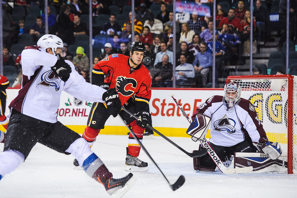 . CALGARY, AB - DECEMBER 6: Lance Bouma #17 of the Calgary Flames and Jean-Sebastien Giguere #35 of the Colorado Avalanche eye the loose puck during an NHL game at Scotiabank Saddledome on December 6, 2013 in Calgary, Alberta, Canada. (Photo by Derek Leung/Getty Images)