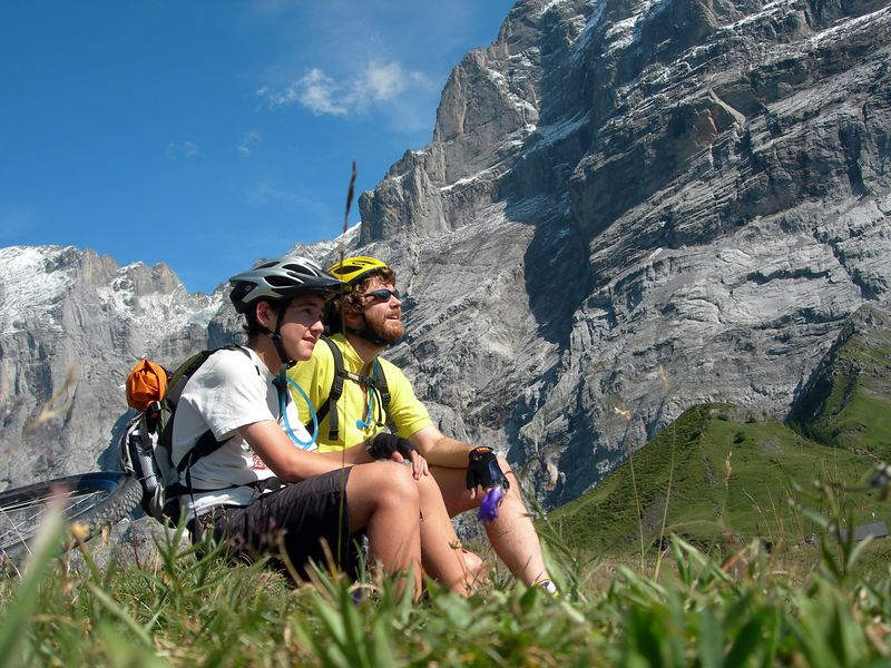 Marveling at the view from Grosse Scheidegg Pass.
