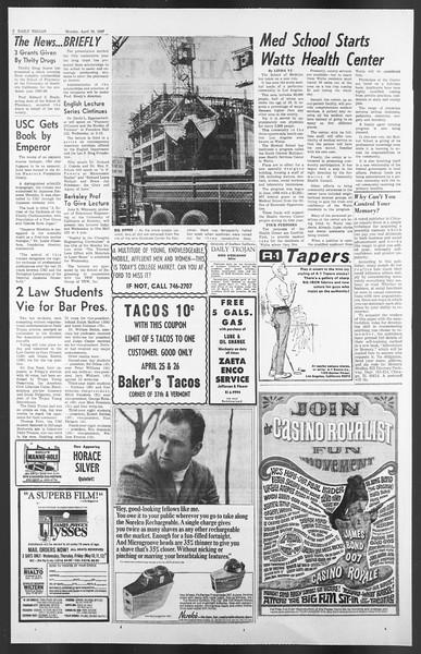 Daily Trojan, Vol. 58, No. 110, April 24, 1967