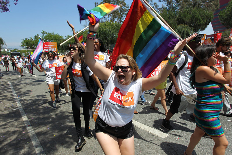 . A woman marches with Equality California (EQCA), an LGBT civil rights group, at the 43rd L.A. Pride Parade on June 9, 2013 in West Hollywood, California. More than 400,000 people are expected to attend the parade in support of lesbian, gay, bisexual and transgender communities.  (Photo by David McNew/Getty Images)