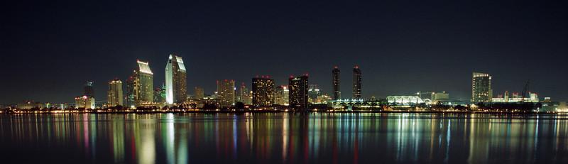 San Diego skyline on a beautiful clear night.