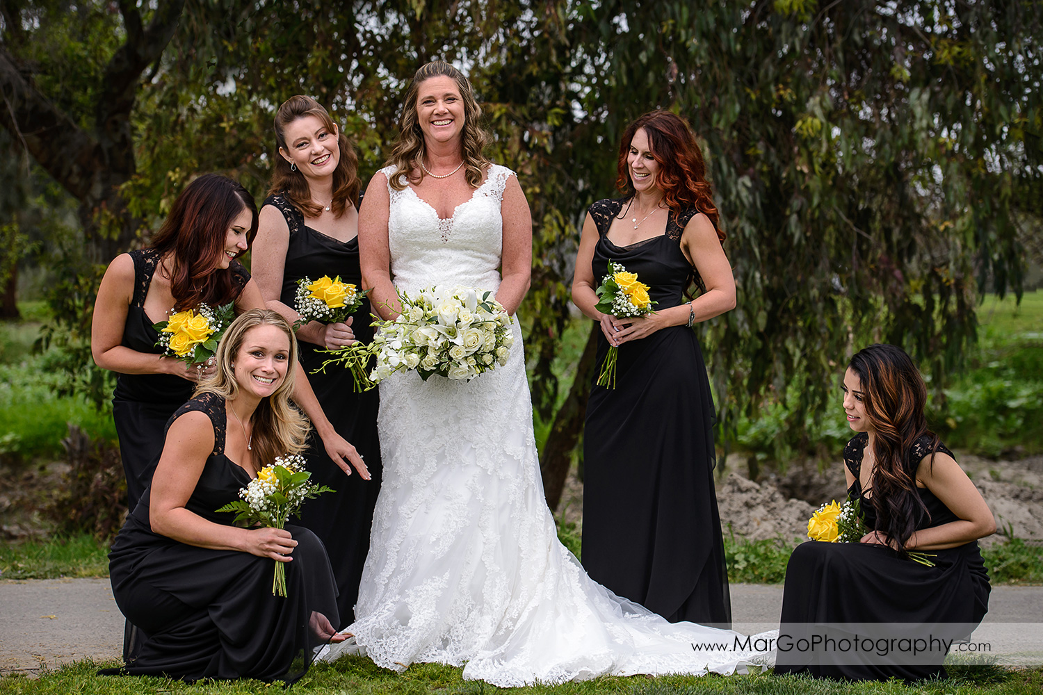 bride and bridesmaids at Las Positas Golf Course in Livermore