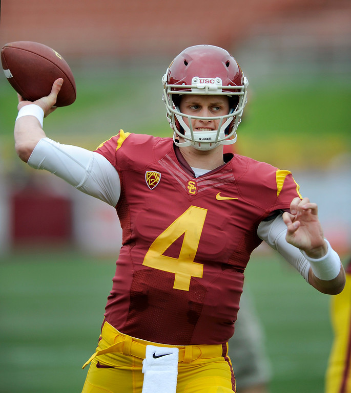 . QB Max Browne warms up at USC\'s Spring Football Game. (Michael Owen Baker/Staff Photographer)