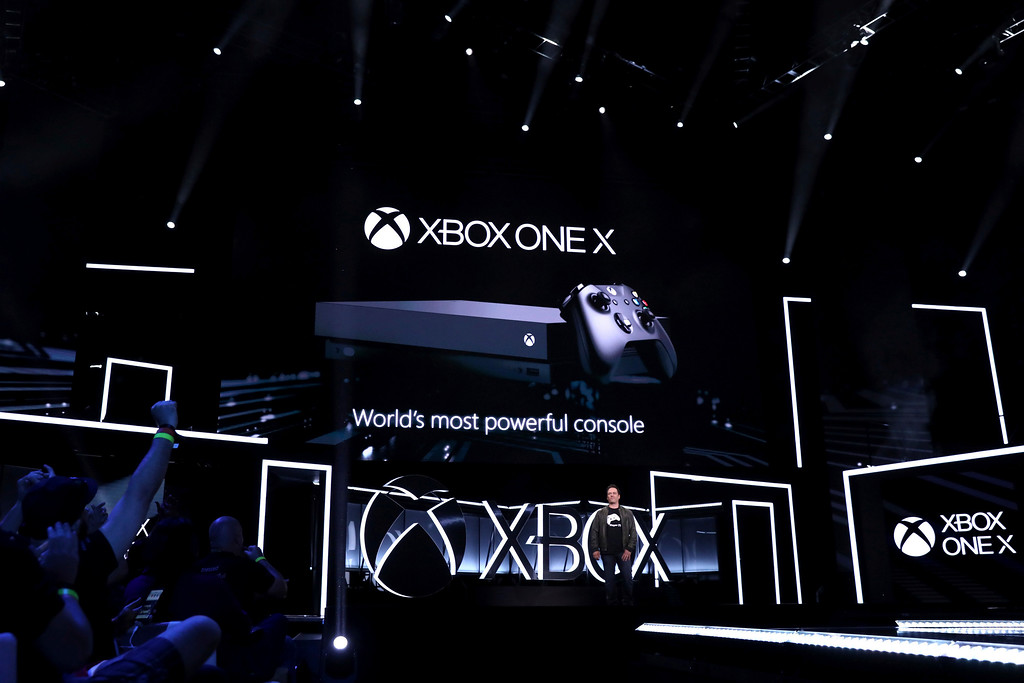 . IMAGE DISTRIBUTED FOR MICROSOFT - Phil Spencer, Head of Xbox, unveils Xbox One X at the Xbox E3 2017 Briefing on Sunday, June 11, 2017 in Los Angeles. (Photo by Matt Sayles/Invision for Microsoft/AP Images)
