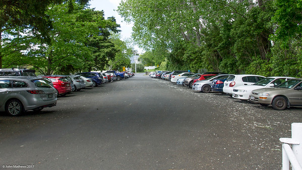 Spectator's cars parked at nearby Trentham Memorial Park on Day 3 of the Asia-Pacific Amateur Championship tournament 2017 held at Royal Wellington Golf Club, in Heretaunga, Upper Hutt, New Zealand from 26 - 29 October 2017. Copyright John Mathews 2017.   www.megasportmedia.co.nz