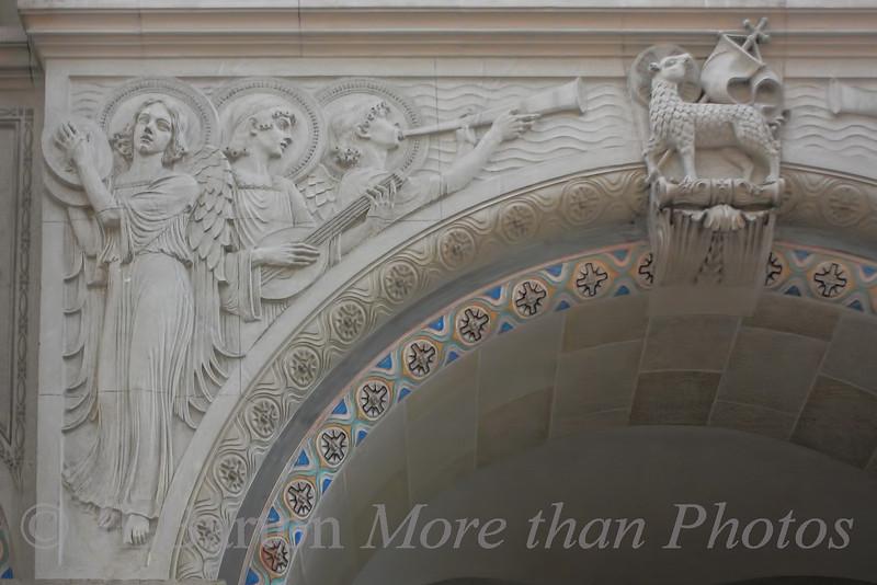 Detail above the door in the Franz von Asissi church in Vienna's 2nd district
