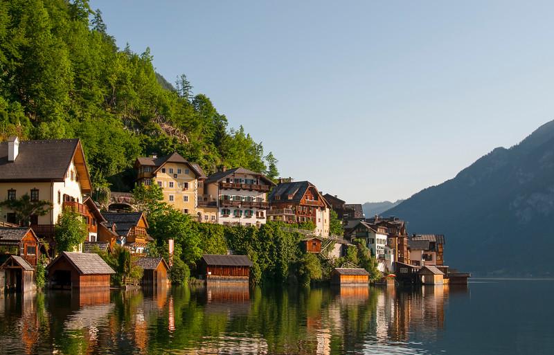 Houses in Village of Hallstatt by Hallstattersee Lake in Salzkammergut Area of Upper Austria