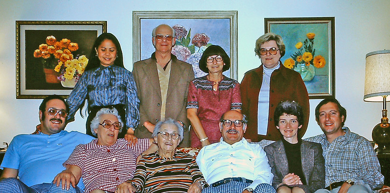 April 1980 at Gladys' house, SF. Front: Aaron and Gladys Straus, Ida Stamm, Sidney Franklin, Marian, Naphtali. Rear: Susie Straus, Ray and Friedl Baxter, Mrs. Franklin.