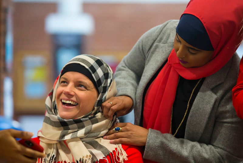 """01/02/2017.  World Hijab Day 2017 at Waterford Institute of Technology. Picture at Waterford Institute of Technology (WIT) who hosted an event """"Trying on a Hijab"""" for World Hijab Day 2017 at WIT's main campus, Cork Road, Waterford City. Picture: Patrick Browne"""