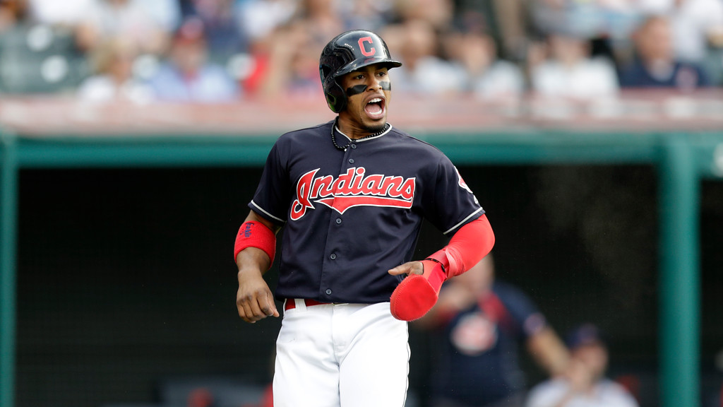 . Cleveland Indians\' Francisco Lindor celebrates after scoring on a two-run single hit by Michael Brantley in the third inning of a baseball game against the Houston Astros, Thursday, May 24, 2018, in Cleveland. (AP Photo/Tony Dejak)