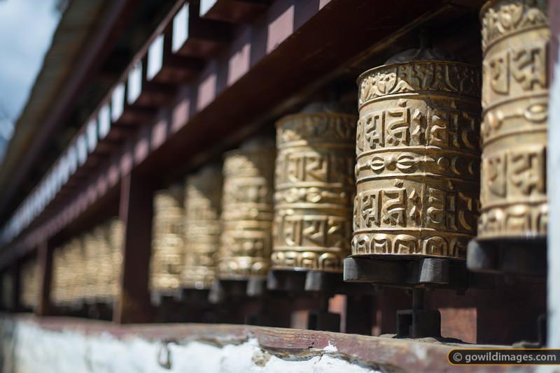 Prayer wheels outside Namche Gompa (monastery)