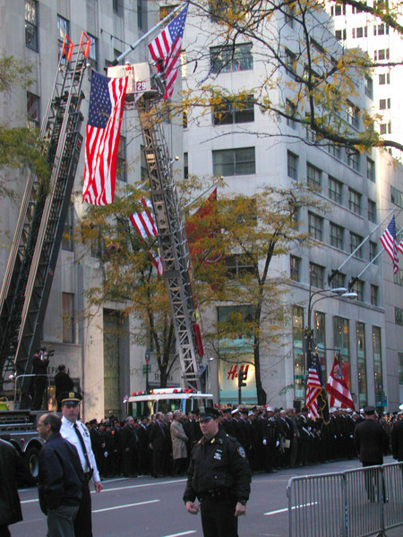 Funerals for firefighters lost at Ground Zero.