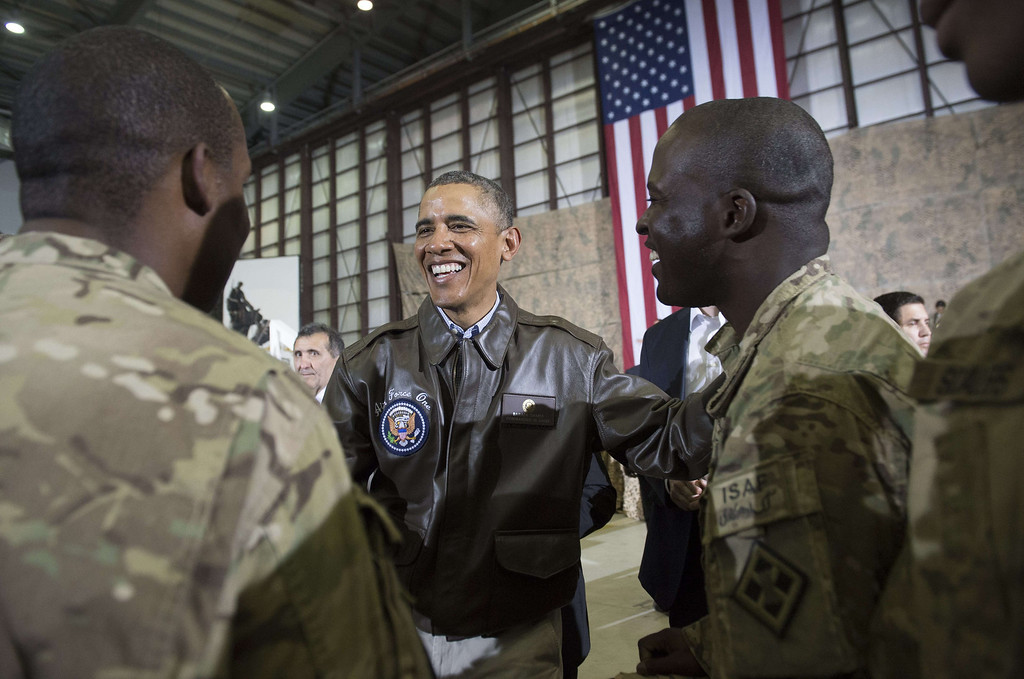 . US President Barack Obama greets US troops during a surprise visit to Bagram Air Field, north of Kabul, in Afghanistan, May 25, 2014, prior to the Memorial Day holiday.   SAUL LOEB/AFP/Getty Images