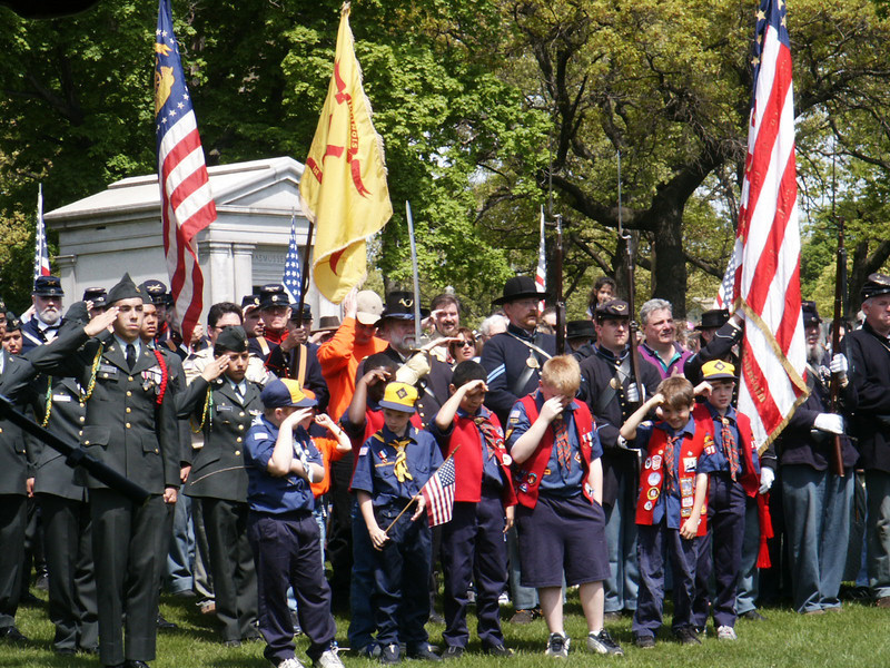 Boyscouts saluting