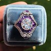 2.27ct (est) Art Deco Old European Cut Diamond with Amethyst Halo Ring 26