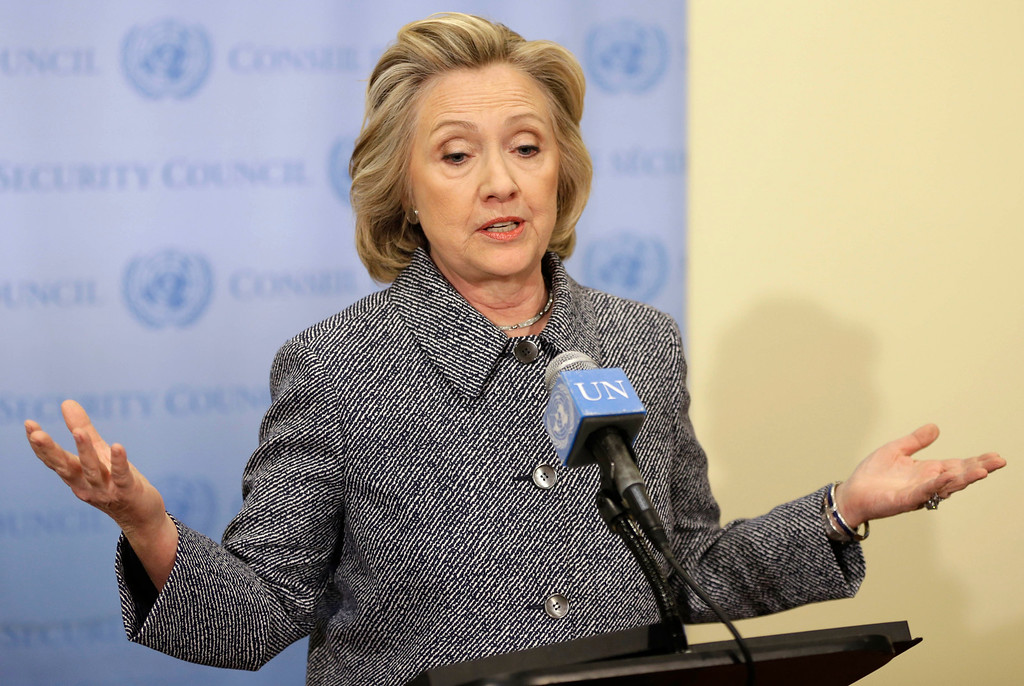 """. Hillary Rodham Clinton speaks to the reporters at United Nations headquarters, Tuesday, March 10, 2015. Clinton conceded Tuesday that she should have used a government email to conduct business as secretary of state, saying her decision was simply a matter of \""""convenience.\"""" (AP Photo/Seth Wenig)"""