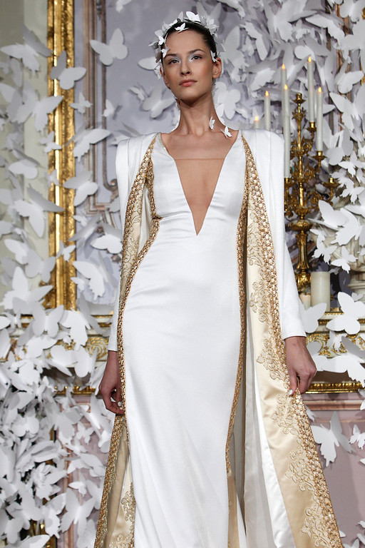 . A model presents a creation as part of the Alexis Mabille Spring-Summer 2014 Haute Couture fashion collection, presented Monday, Jan. 20, 2014 in Paris. (AP Photo/Thibault Camus)