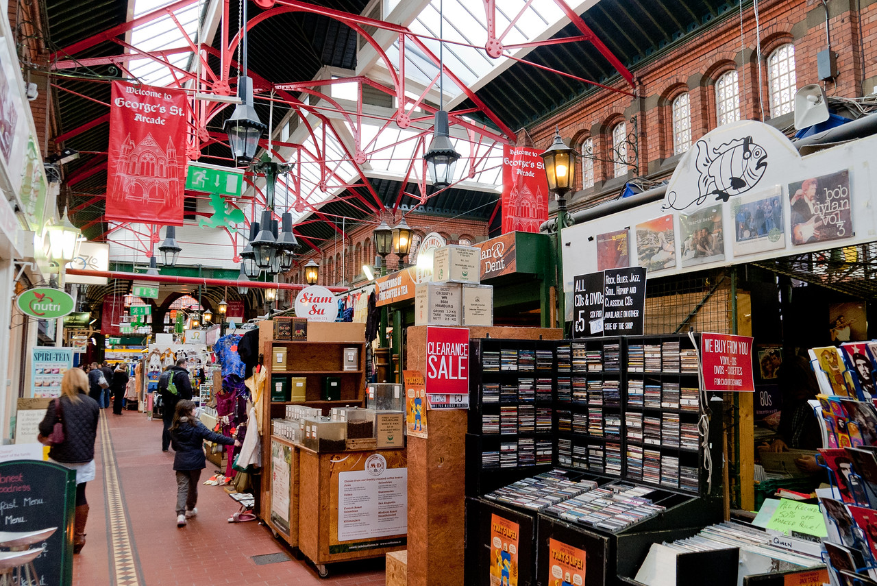 George's Street Arcade is a shopping centre in Dublin. It is located on South Great George's Street in the centre of Dublin, Ireland. It is a Victorian style red-bricked indoor market of stalls and stores. It opened in 1881 as the South City Markets. (wikipedia)