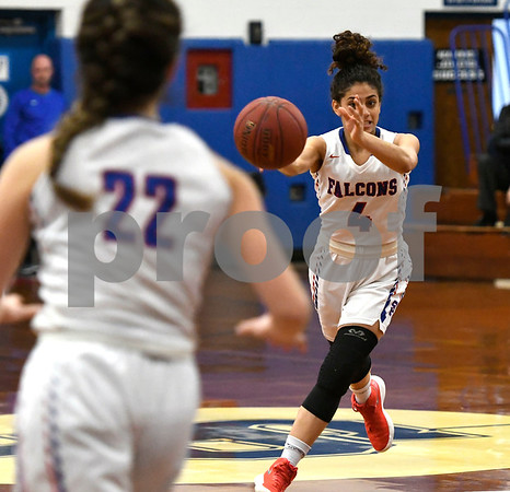 3/1/2018 Mike Orazzi   Staff St. Paul's Aidrianna Lopez (4) during the Class M Second Round of the CIAC 2018 State Girls Basketball Tournament with Stonington in Bristol Thursday night.
