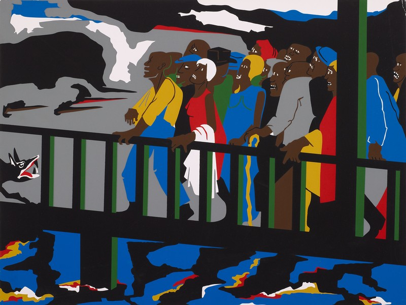 "Jacob Lawrence, ""Confrontation at the Bridge,"" 1975"
