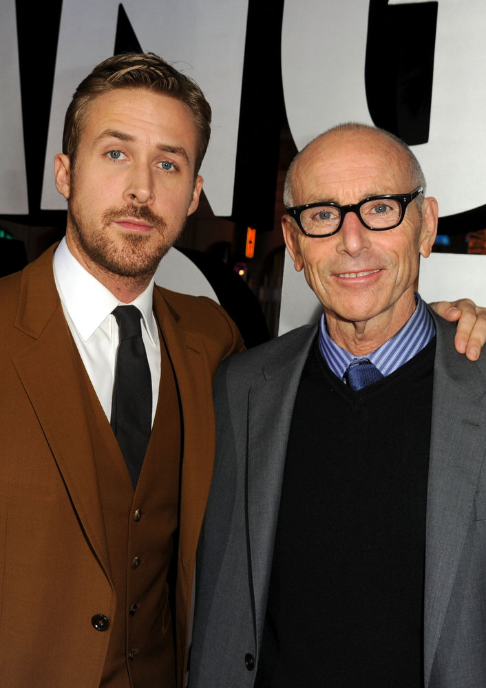""". Actor Ryan Gosling and producer Kevin McCormick arrive at Warner Bros. Pictures\' \""""Gangster Squad\"""" premiere at Grauman\'s Chinese Theatre on January 7, 2013 in Hollywood, California.  (Photo by Kevin Winter/Getty Images)"""