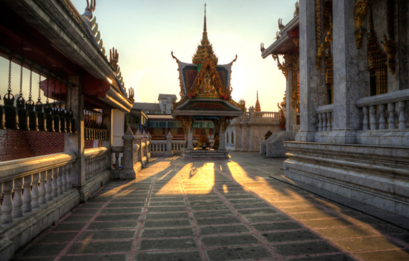 Sunset in a Thai Temple