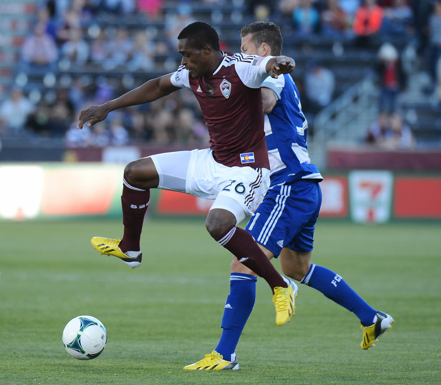. COMMERCE CITY, CO. - June 01: Deshorn Brown of Colorado Rapids (26) controls the ball against Michel of FC Dallas (31) in the 1st half of the game at Dick\'s Sporting Goods Park. Commerce City, Colorado. June 1, 2013. (Photo By Hyoung Chang/The Denver Post)