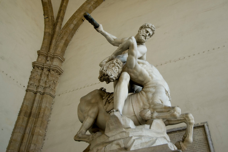 Hercules Nessus sculpture at Loggia dei Lanzi in Florence, Italy