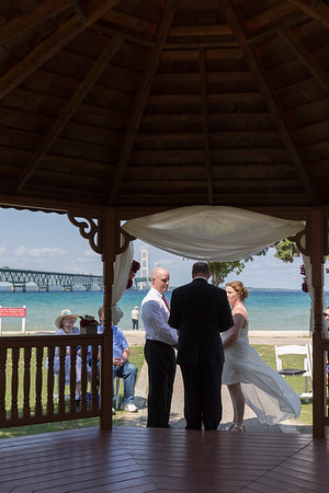 Intimate Mackinaw City Michigan Bridge View Gazebo Wedding Photography