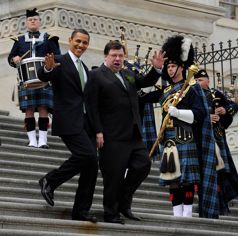 . President Barack Obama and Irish Prime Minister Brian Cowen walk down the steps of the Capitol in Washington, Tuesday, March 17, 2009, after attending a St. Patrick\'s Day luncheon. (AP Photo/Susan Walsh)
