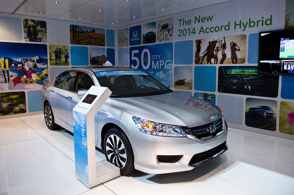 . The 2014 Honda Accord Hybrid is on display at Los Angeles Auto Show on Wednesday, Nov. 20, 2013, in Los Angeles. (Photo by Watchara Phomicinda/San Gabriel Valley Tribune)