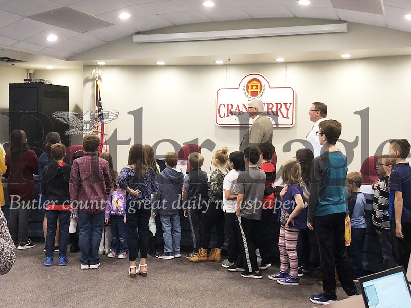 Seneca Valley School District students lead the Pledge of Allegiance on Thursday during a meeting of the Cranberry Township supervisors.