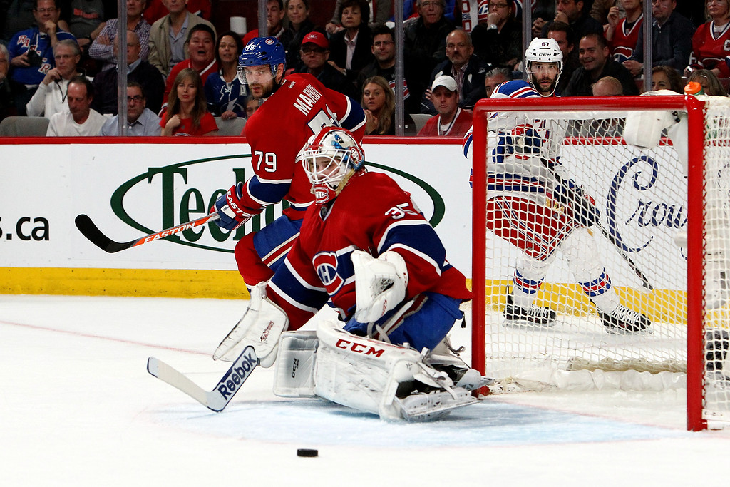 . Dustin Tokarski #35 of the Montreal Canadiens tends goal against the New York Rangers during the first per period in Game Two of the Eastern Conference Final during the 2014 Stanley Cup Playoffs at Bell Centre on May 19, 2014 in Montreal, Canada.  (Photo by Francois Laplante/FreestylePhoto/Getty Images)